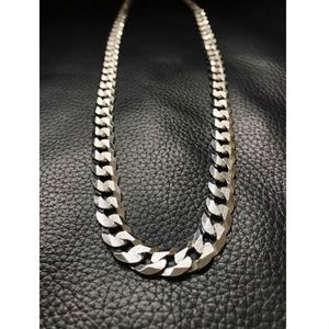 Harlembling 925 Sterling Silver Diamond Flat Chain